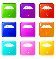 umbrella icons 9 set vector image