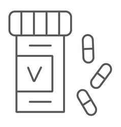 vitamins bottle thin line icon health and vector image