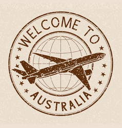 Welcome to australia travel stamp on beige vector
