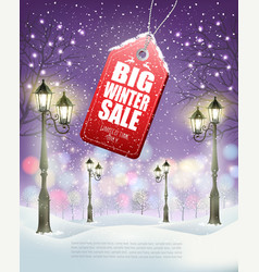winter sale tag with evening winter landscape and vector image