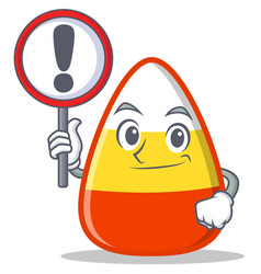 with sign candy corn character cartoon vector image