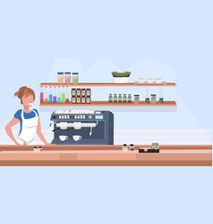 woman cafe waitress barista in apron standing at vector image