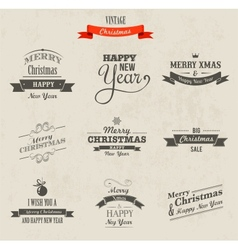 Christmas set - labels emblems and elements vector image