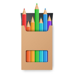 color pencil set in the yellow box vector image vector image