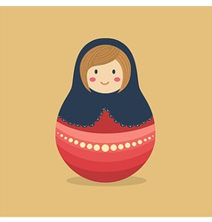 Cute russian doll blue red vector