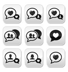 Love speech bubbles couples buttons set vector image vector image