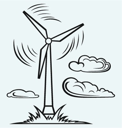 Windmill and clouds vector image vector image