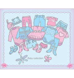 Baby clothing collection vector image vector image