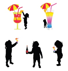 baby silhouette with cold drink vector image vector image