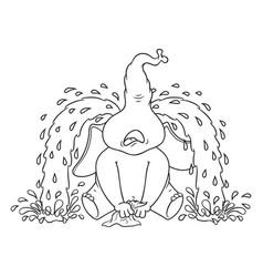 elephant sobs big tears cartoon vector image vector image