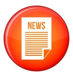 News newspaper icon flat style vector image