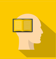 open book inside a man head icon flat style vector image