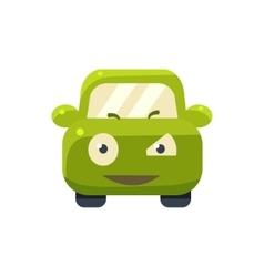 Suspicious Green Car Emoji vector image