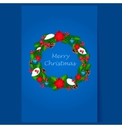 Christmas Wreath with Berries and Decorations vector image