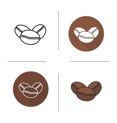 Coffee beans flat design linear and color icons vector image vector image