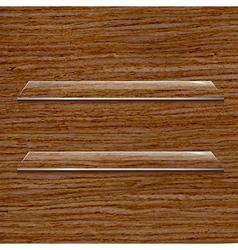 Glass Shelf Set On Wooden Background vector image vector image