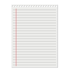 leaf from a notebook on white background vector image