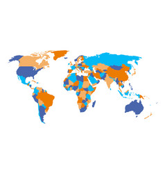Political map of world in four colors isolated on vector