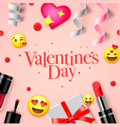 valentines day banner with love emoji icons vector image vector image