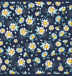 black white daisies ditsy seamless pattern vector image