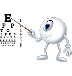 Cartoon eye ball optician pointing to snellen char vector