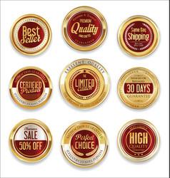 sale retro vintage golden badges and labels 09 vector image vector image