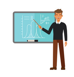 young male teacher on lesson at blackboard cartoon vector image