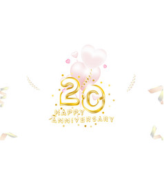 20th anniversary gold inscription with original vector image