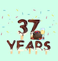 37 years anniversary invitation card vector image