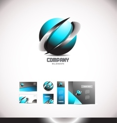 Abstract 3d blue sphere swoosh metal logo vector