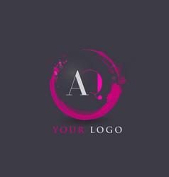 Aq letter logo circular purple splash brush vector