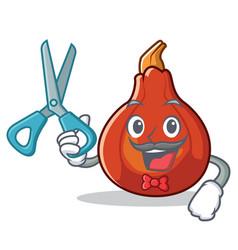 barber red kuri squash character cartoon vector image