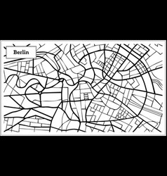 Berlin germany map in black and white color vector
