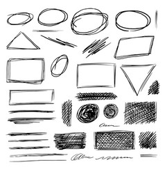 Black and white isolated scribble symbol big set vector