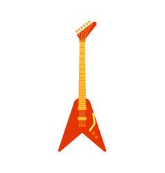 black electric guitar classic rock icon vector image