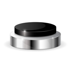 Black push button with metal base vector