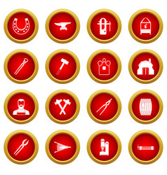 blacksmith icon red circle set vector image