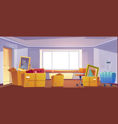 Boxes in room move to new house apartment concept vector