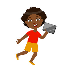 Boy running with tablet part kids and modern vector