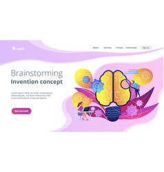Brainstorming and invention concept landing page vector