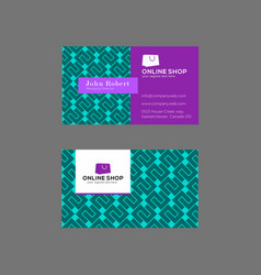 Bright geometrical business card in jade and lilac vector