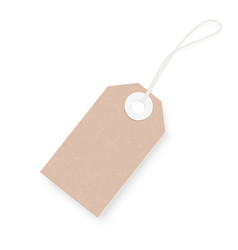 Brown blank kraft paper hang price tag vector