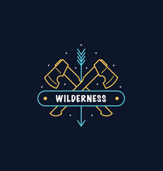 bushcraft camp logo design vector image