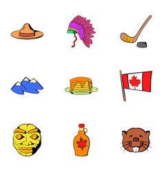 canadian travel icons set cartoon style vector image