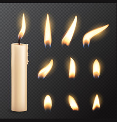 candle with fire flame lights realistic vector image