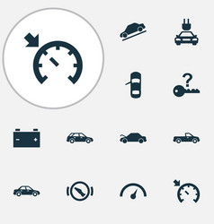 Car icons set with stop not key electric car and vector