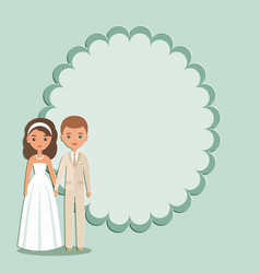 cartoon groom bride with space for text vector image