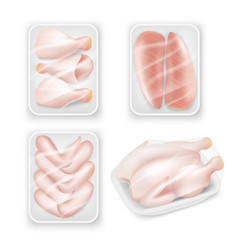 Chicken meat tray packaging template set vector