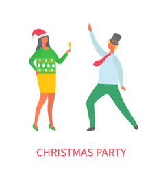 christmas party couple of man and woman dancing vector image