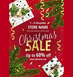christmas sale red banner for web or flyer vector image